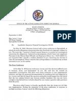 Letter from Special Legislative Inspector General Julie Porter to Rep. Lou Lang