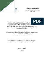 Estilo de liderazgo directivo y clima organizacional en una institución educativa del distrito de Ventanilla.pdf