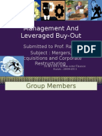 Management and Leveraged Buy-Out