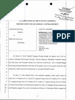 Hwang v. Savage -- Court Order Re Defendants' Demurrer
