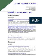 Noticias Del Viernes 07.09.2018