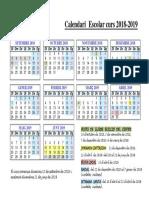 Calendari de l'Escola Elisa Badia 2018-2019
