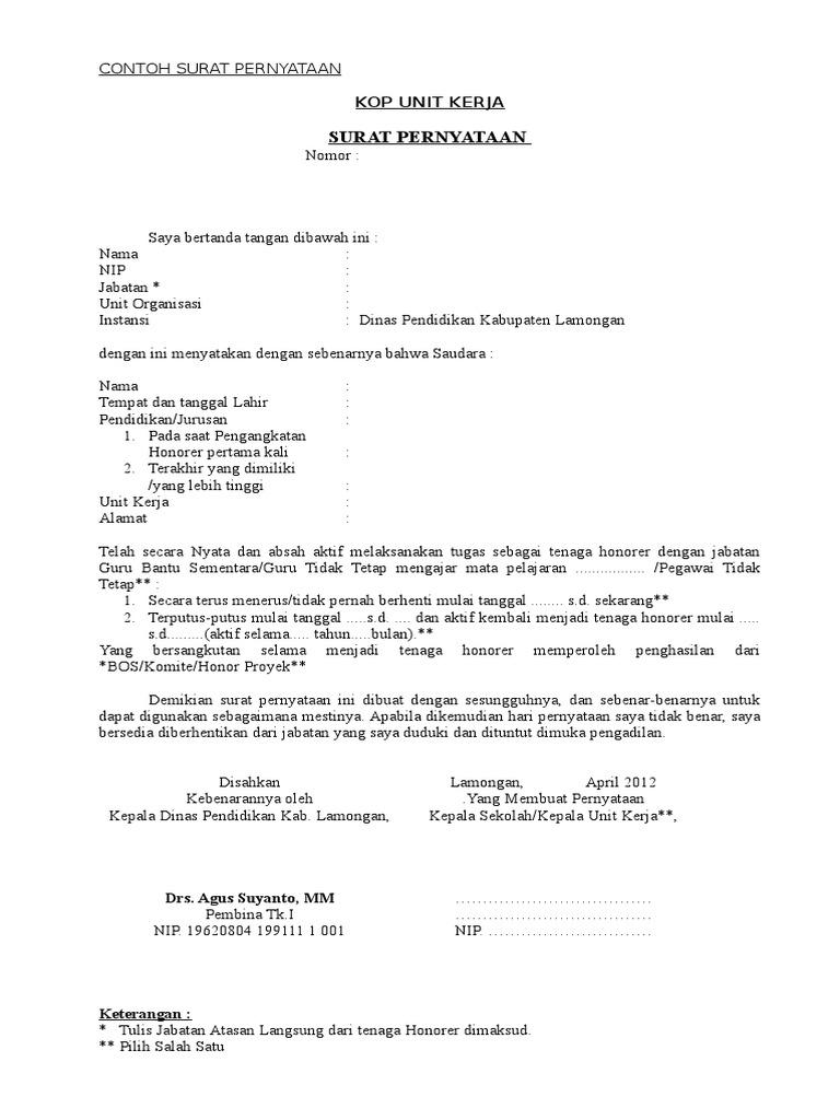 Contoh Surat Pernyataan Doc