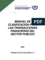 Manual de Clasificación Para Las Transacciones Financieras Del Sector Público