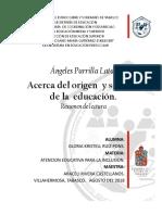 ACT. 5 Resumen de La Lectura Acerca Del Origen y Sentido de La Educación.
