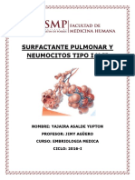 Surfactante Pulmonar y Neumocitos Tipo i y II