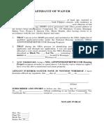 Waiver Affidavit Form