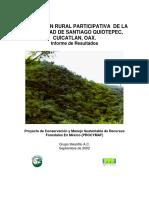 EVALUACIÓN RURAL PARTICIPATIVA  DE LA COMUNIDAD DE SANTIAGO QUIOTEPEC, CUICATLAN, OAX. Informe de Resultados