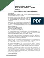 Especificaciones Técnicas para la instalación de Agua Potable La Molina