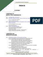 Perfil técnico saneamiento Cashapampa - Sihuas - Ancash