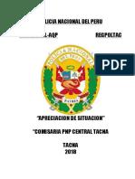 Apreciacion de Situación Comisaria Central Tacna