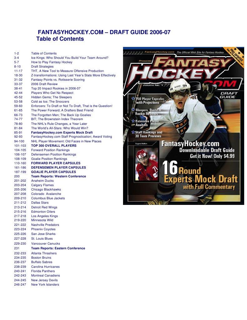 Hockey Guide1 National League Teams Proj2 Unusual Electronics
