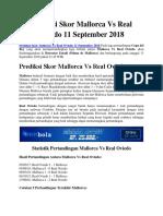 Prediksi Skor Mallorca vs Real Oviedo 11 September 2018
