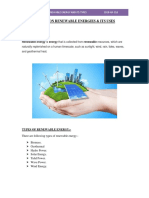 Renewable Energy and Its Types 2018