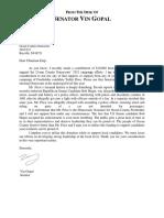 Vin Gopal Letter