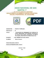 EVALUACIÓN de RENDIMIENTO de FORRAJE de PASTO BRACHIARIA DICTYONEURA (Rendimiento de Forraje Verde (Kgha), Rendimiento de Materia Seca (Kgha), Determinación de Materia Seca (%)).