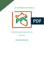 Candidato César Mendoza por el  PPC |  Municipalidad de San Luis