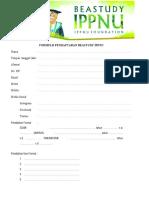 Formulr Pendaftaran Beastudy Ippnu