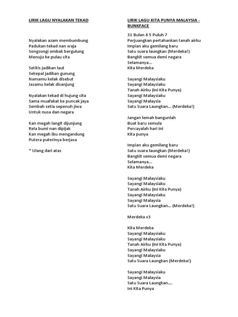Lirik Lagu Nyalakan Tekad Lirik Lagu Kita Punya Malaysia