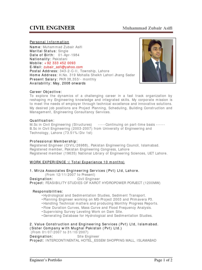Sample CV Of Civil Engineer | Pakistan | Engineer  Civil Engineering Resume Templates