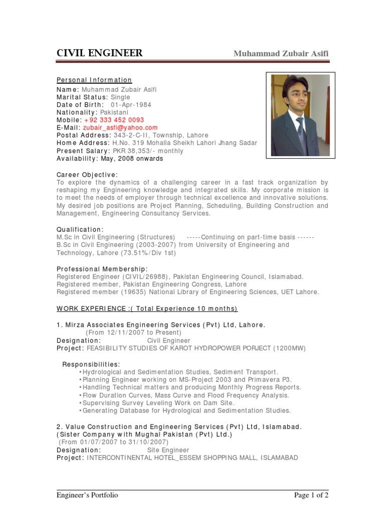 Beautiful Sample CV Of Civil Engineer   Pakistan   Engineer