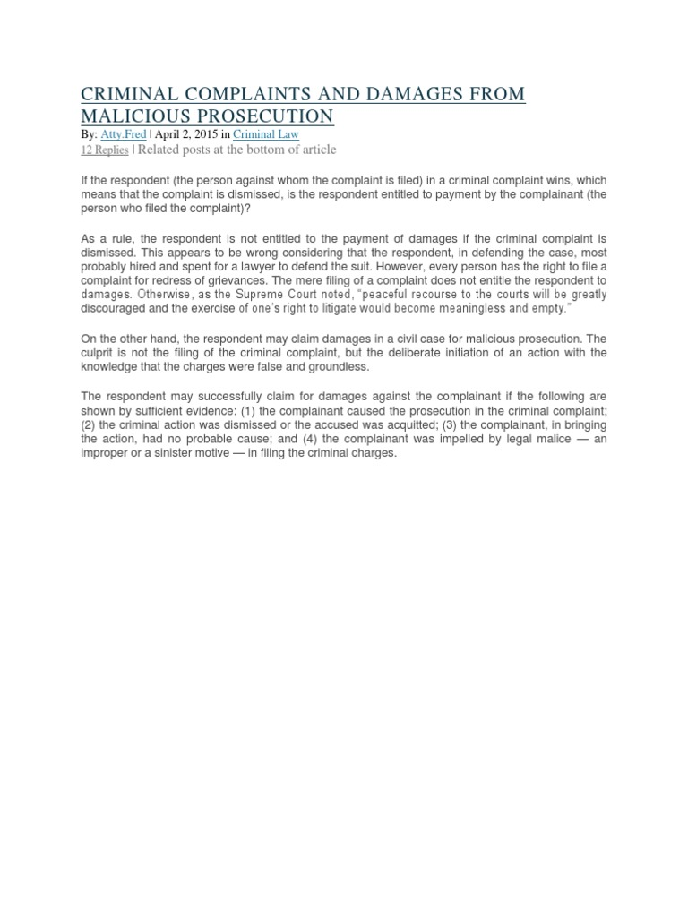 MALICIOUS PROSECUTION CRIMINAL COMPLAINTS AND DAMAGE docx