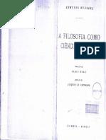 Husserl, Edmund - A Filosofia Como Ciência de Rigor