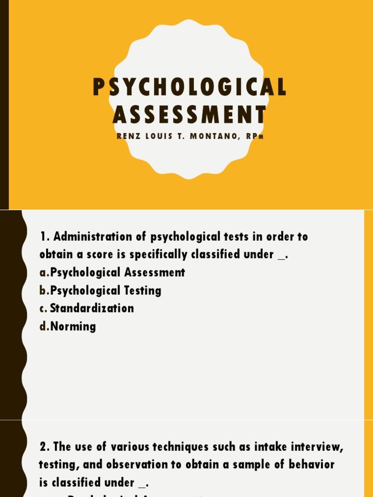 Psychological Assessment pptx   Standard Score   Validity