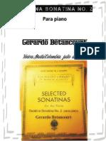 GUABINA SONATINA No. 2 para piano. Por Gerardo Betancourt.