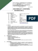 Seguridad y Auditoría Informática 2018-II