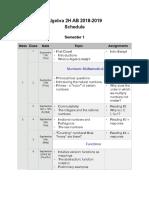 algebra 2h ab schedule