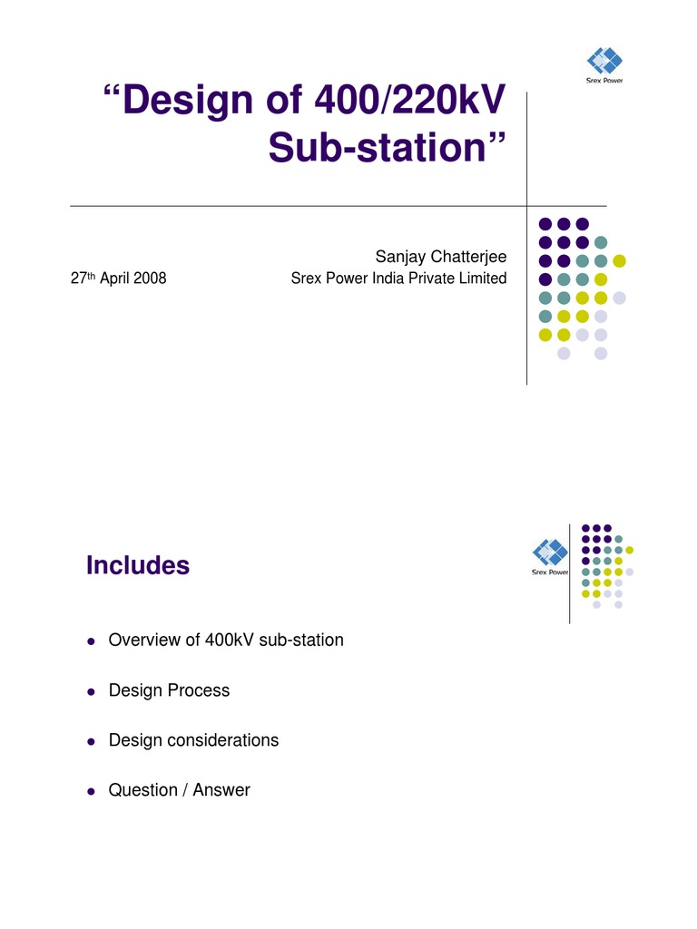 Basic of 400kv substation design electrical substation for Substation design pdf