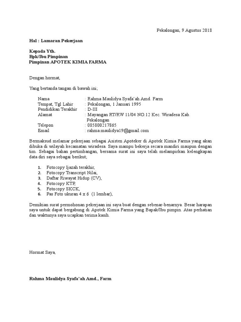 Contoh Surat Lamaran Kerja Asisten Apoteker Di Apotek Kumpulan Contoh Gambar