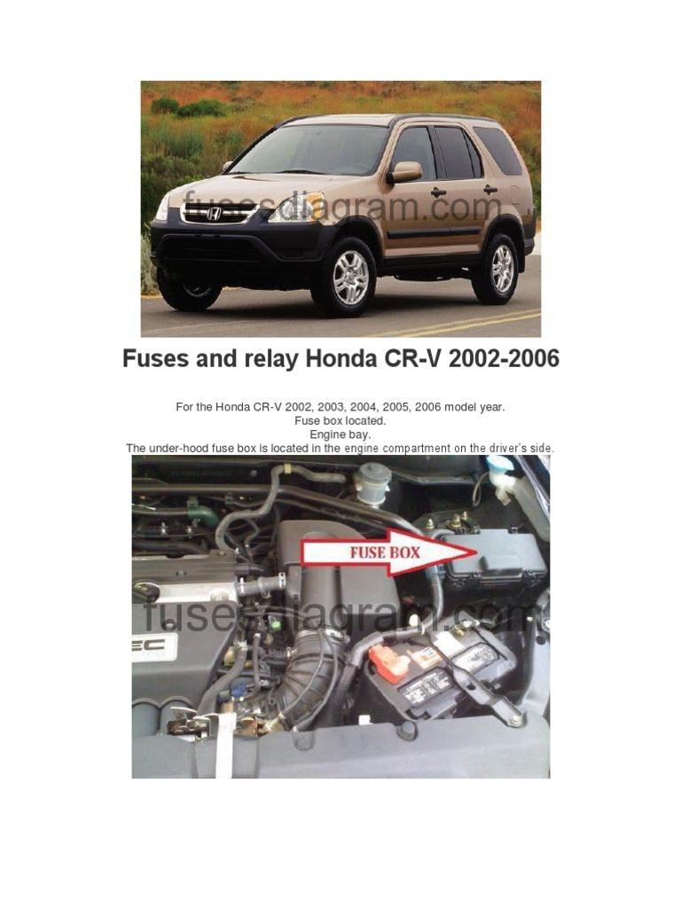 Fuses and Relay Honda CRV 2002-2006 | Headlamp | CarScribd