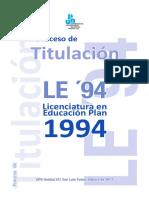 Proceso de Titulacion LE94 Reglamento