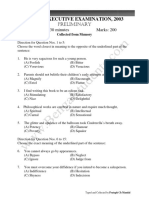 W.B.C.S Prelims 2003 (Eng Ver) Question Paper