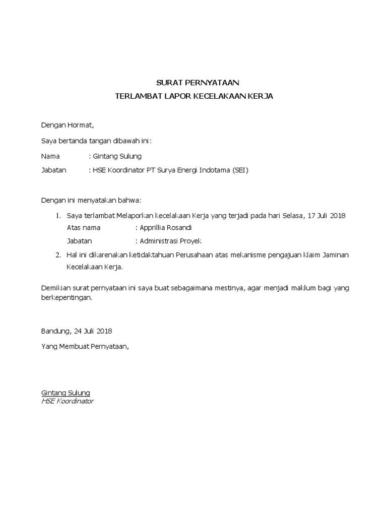 Surat Pernyataan Terlambat Lapor Bpjs