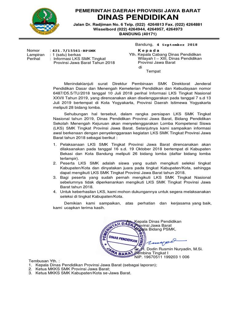 Surat Informasi Lks Smk 2018 Di Kab Bekasi Dan Kota Bdg