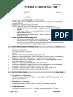 Payment of Bonus Act 1965 Summary