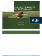 Physiolgical Correlates of Golf Performance Bogota 2010