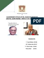 Personalities of Ajim Premji and Narayana Murthy