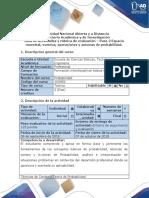 Guía de Actividades y Rúbrica de Evaluación – Paso 2 Espacio Muestral, Eventos, Operaciones y Axiomas de Probabilidad (1)