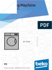 Beko BFL700W 7kg Front Load Washing Machine User Manual