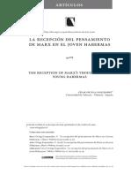 Recepción del joven Habermas de la obra de Marx