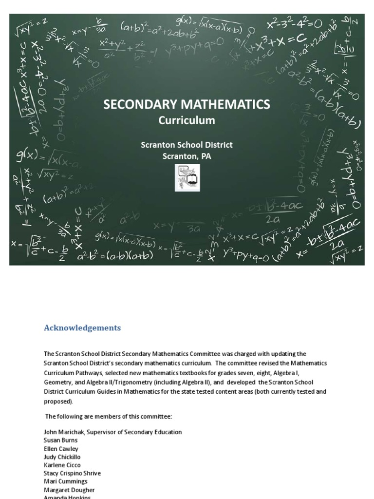 Secondary Math Curriculum pdf | Quadratic Equation