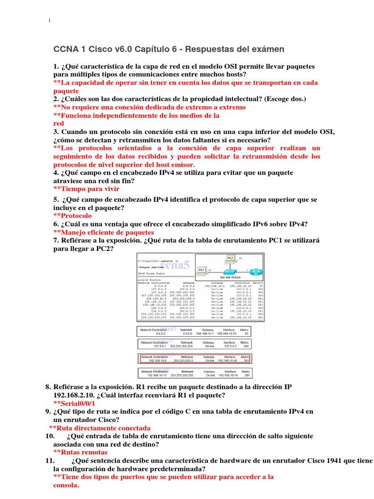 Ccna 1 Cisco V6 0 Capitulo 6 Respuestas Del Examen Converted Enrutador Computacion Protocolos De Internet