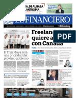 Portada del diario el financiero de la edición del lunes 10 de septiembre de 2018