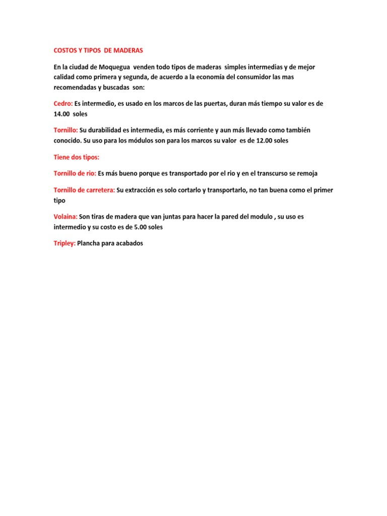Tipos De Maderas Docx