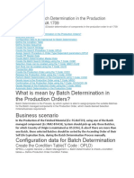 Steps for the Batch Determination in the Production Order