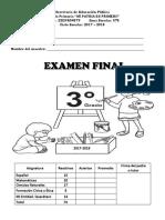 Examen Final Tercer Grado